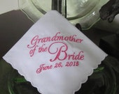 Grandmother of the Bride - Embroidered Handkerchief - Wedding Gift - Simply Sweet Hankies