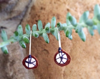 Pinwheel Silver and Leather Earrings