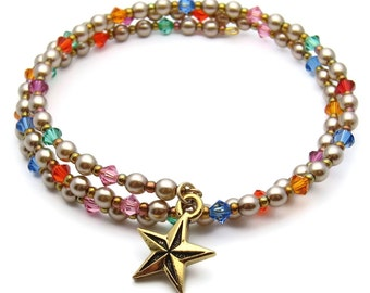 Pearl bracelet - memory wire bracelet - coil bracelet - wrap around bracelet - Swarovski pearl bracelet - pearl and crystal bracelet