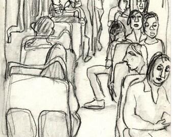 Metro de Paris. Original Charcoal Drawing, 8x11 inch Sketch, Urban Expressionist Subway Drawing, Signed Original Fine Art