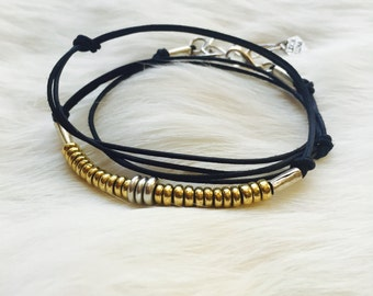 TINY DANCER : Delicate Navy Leather Wrap Bracelet / Mixed Metal Necklace