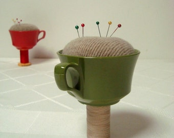 PinCushion in Vintage Melmac Cup Green Tan Handmade Simple Sewing Decor