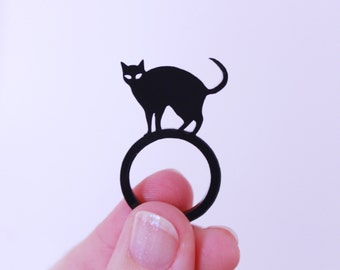 cat ring. black cat. cat jewelry. gift for her. cat lover gifts. statement ring. handmade jewelry. handmade ring. black cat jewelry
