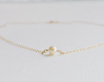 Single Ivory Pearl Necklace - tiny round pearl solitaire gold filled chain small swarovski simple dainty wedding jewelry handmade gift