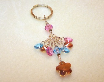 Flower Keychain Crystal Key Chain for Women Multi Color Key Accessory Small Gift Idea Wire Wrapped Gold Keyring for Her Gifts for Women