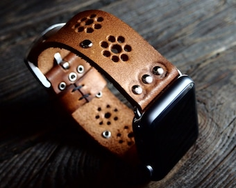 Bohemian Vintage Apple Watch Band Strap 38mm/  Handmade leather strap/band for Apple Watch 38mm