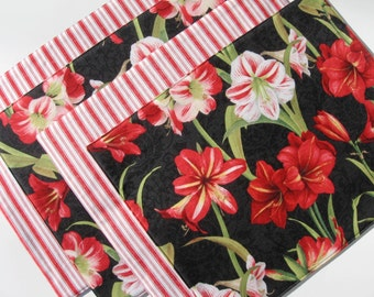Christmas Placemats - Holiday Placemats - Floral Placemats - Amaryllis - Red Striped Placemats - Reversible - Heat Resistant - Set of 4