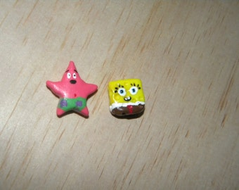 Sponge Bob and Patrick Inspired Clay Stud Earrings