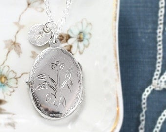Custom Initial Locket Necklace, Sterling Silver Vintage Oval Engraved Pendant - A Single Bloom