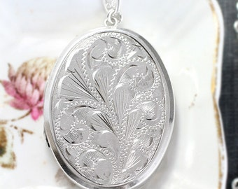 Large Oval Sterling Silver Locket Necklace, Vintage Swirling Vine Engraved Pendant with Special Filigree Chain - Fountain