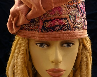 Hat Muted Dusty Rose Corduroy Vintage Hmong and Indian Embroidery Rose Pink Blue Black Aymmetrical Beret Gypsy World Peace Hatsbybuck