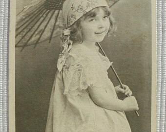 Antique Postcard - Little Girl Holding a Parasol
