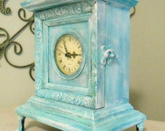 Mantle Clock, White Washed. Blue, Green, Turquoise, Beach Decor