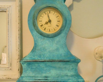 Mantle Clock, Blue, Green, Turquoise, Beach Decor, French Country