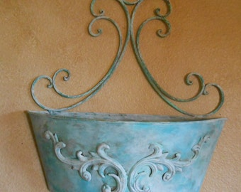 Large Wall pocket, Turquoise, Whitewashed teal / blue / green