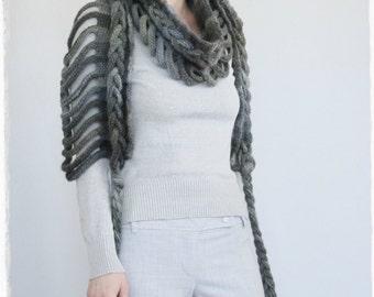 chunky wool scarf   long crochet scarf   winter neck warmer   big wide scarf   modern fashion scarf   unique scarf   crochet ladder scarf