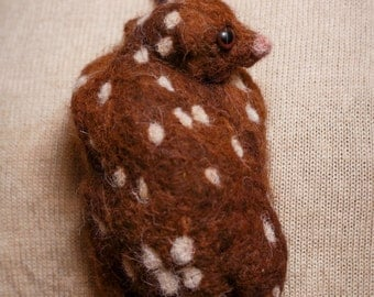 Needle felted exotic ANIMAL NECKLACE - Sunda Flying Lemur
