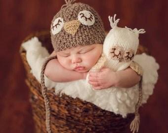 Newborn photo prop, newborn stuffed owl, newborn boy, newborn girl, newborn props, newborn owl prop,newborn owl hat, newborn birdie hat