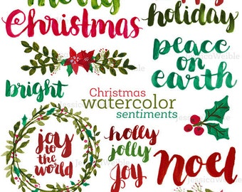 Christmas Watercolor Sentiments, Brush Lettering, Merry Christmas, Hand Lettered Christmas Phrases, Watercolor Christmas, Photo Overlay