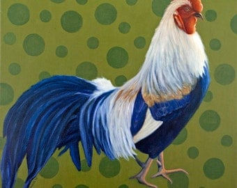 Rooster Print - Rooster Art for 16 x 16 Inch Frame  - 10% Benefits Animal Charities