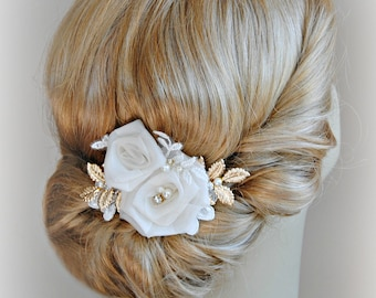 Ivory and Gold Hair Flowers, Bridal Fascinator, Ivory Roses Wedding Hair Clip with Gold Leaves - ROSERAIE