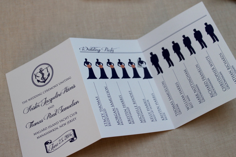 Nautical Tri Fold Wedding Program