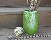 Ceramic Flower Vase Wheel-thrown Textured Porcelain in Dark Spearmint Green, Handmade Artisan Pottery by Licia Lucas Pfadt