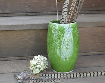 Ceramic Flower Vase Wheel-thrown Textured Porcelain in Dark Spearmint Green, Handmade Artisan Pottery by Licia Lucas Pfadt