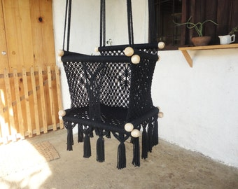 """BABY SWING/CHAIR 14.7""""- Kids-100% Cottom Thread in Black Color- Custom Colors and Sizes available! Ships from Nicaragua-"""