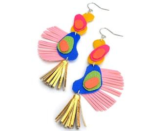 Gold Tassel Earrings, Rainbow Earrings, Fringe Boho Earrings, Leather Earrings, Geometric Earrings, Abstract Earrings, Statement Earrings