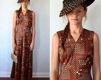 Vintage Maxi Dress, Vintage Dress,  1970s Maxi Dress, Brown Retro Print Maxi Dress, Maxi Dress, Casual Maxi Dress