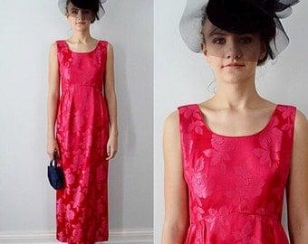 Vintage Dress, 1970s Dress, Evening Dress, Maxi Dress, Ruby Red Brocade Dress, Wedding, Bridesmaid Dress
