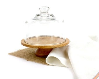 Red Oak Cake Stand with Glass Dome / Wooden Cake Plate Pedestal Cake Stand Rustic Cupcake Tray