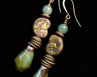 Green Raku Dangles w/Czech Nautilus Shells & Jade Earrings