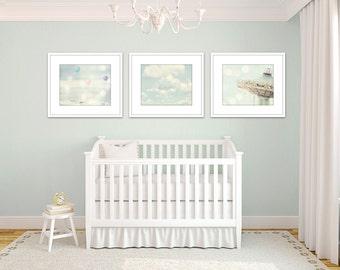 nursery pictures, set of 3 prints, girl nursery wall art, pink and blue art, toddler girl art, little girls room art, nursery photography