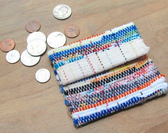Vegan Eco Recycled Boho Wallet Coin Purse Key Pouch, Fiesta Rainbow Fabric Handbag, Small Change Pouch, Tea Bag Money Purse ID Card Hand Bag