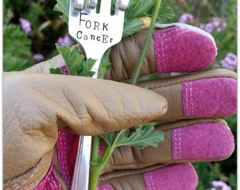 Fork Cancer Garden Marker Hand Stamped Vintage Silverware The Finger Flipping the Bird One Finger Salute Statement Piece