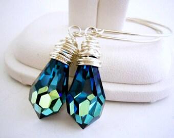 Bermuda Blue Earrings, Teardrop Crystal Earrings, Wire Wrapped Earrings, Blue Everyday Earring, Birthday Gift for Best Friend, Silver Earing