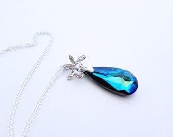 Bermuda Blue Bridesmaid Necklace, Blue Teardrop Crystal Necklace, Navy Blue Bridal Necklace, Swarovski Necklace, Blue and Teal Necklace