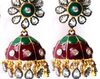 GOLD JHUMKA Earrings,Turkish earrings-Red green crystal earrings,Enamel earrings,Indian Jewellery,Dome earrings,green red  jhumkas TANEESI