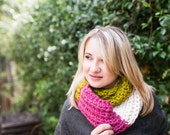 Sample Sale - Multicolored Pink, Green & White Infinity Scarf - Handknit and Ready to Ship