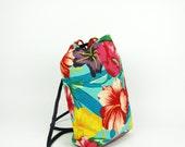 Floral Drawstring Backpack || Hawaiian Print Bag