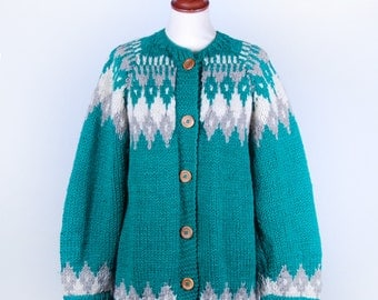 Hand Knit Cowichan-Style Cardigan Sweater || Wooden Buttons