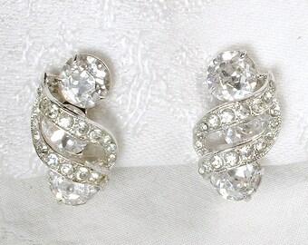 EISENBERG Crystal Rhinestone Bridal Earrings, Vintage Designer Silver Earrings, Hollywood Glamour Art Deco Wedding Jewelry Clip Back 1950s