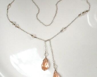 Original Art Deco Blush Pink Crystal Bridal Necklace, 1920 Antique Lariat Pendant Sterling Silver Vintage Choker FLAPPER Downton Abbey Peach