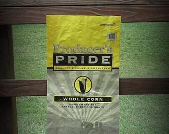 Empty Feedsack, DIY Feedsack, Feedsack, Empty Grain Bag, Yellow and Black, Corn, Do It Yourself, Feedsack Bag, Plastic Bag, Grain Bag