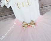 First Birthday Outfit Girl; One Birthday Tutu Outfitin Light Pink and Gold Glitter Bow; Baby Girl First Birthday Tutu Outfit