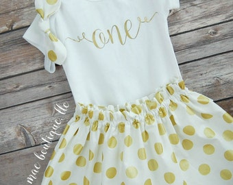 First Birthday Outfit;  Baby Girl Birthday Outfit; One Outfit; Babies first birthday; first birthday dress