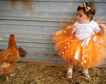 Baby Girl Thanksgiving Outfit, Gobble Gobble Bodysuit; thanksgiving bodysuit and tutu, thanksgiving dress