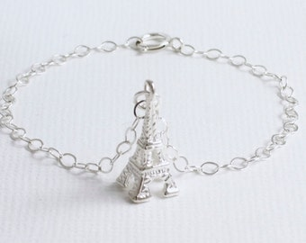 Sterling Silver Tiny Eiffel Tower Bracelet/Anklet/Ankle, 925, Paris, Travel, Wedding, Simple But Elegant, Delicate, Dainty